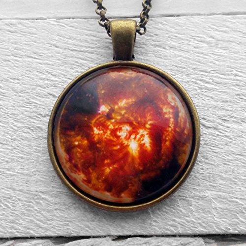 NASA Photograph Sun Fire Ciondolo e Collana