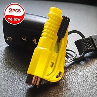 [2 stücke] Auto Notfall Flucht Fensterheber Sicherheitsgurt Schneidwerkzeug Schlüsselanhänger(Gelb)