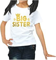 YaYa cafe™ Printed Kids Sister Girls T-Shirt Queen Big Sister Cotton