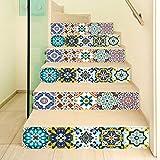 Manyo. 6 Pcs Sticker Carrelage, Stickers Escalier Carreaux Autocollants 3D- Couleur bohème, DéCoration Murale Contremarche Escalier Adhesif en PVC 18 x 100 cm