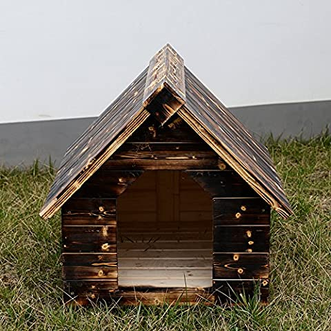 Cuccia in legno massello carbonizzati House Pet Cani e Gatti, E Gatti lasciano le porte sono finestre, S, M, L, XL, XXL Pet Supplies m 2