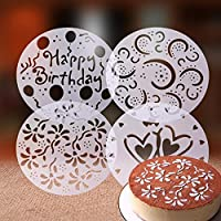 Lixada 4pcs PVC Garland Template Cake Printing Stencil Cake Spray Mold All Kinds of Spray Patterns Cake Decorating Tools for Home Kitchen Cooking Art