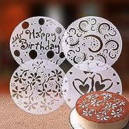 Lixada 4pcs PVC Garland Template Cake Printing Stencil Cake Spray Mold All Kinds of Spray Patterns Cake Decora