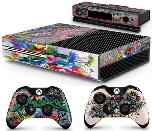giZmoZ n gadgetZ GNG Xbox One Konsolen-Gehäuseaufkleber, Motiv: Graffiti inklusive 2er-Set mit Aufklebern für Controller