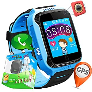 TURNMEON 1.44″ GPS Tracker Kids Smartwatch Phone for Children Girls Boys with Pedometer Fitness Tracker Camera SOS Calls Anti-lost Kids Smart Watch Wristband Bracelet Christmas Birthday Gifts