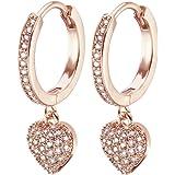 Orecchini pendenti a forma di cuore da donna, ipoallergenici, placcati in oro rosa e argento con zirconi cubici brillanti, id