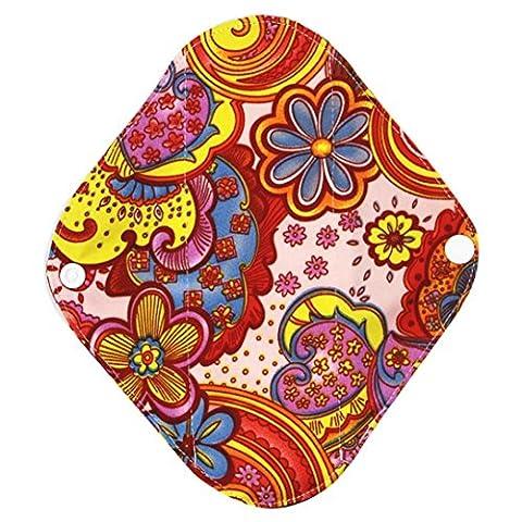 Garniture sanitaire, Ularma Réutilisable en bambou Charocoal lavable tampon menstruel Mama serviette hygiénique (L, Noir) (L, Multicolor)