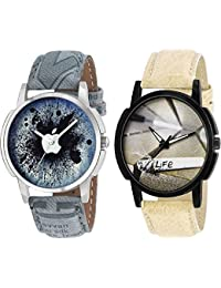 Xforia Boys Watch Brown & Black Leather Casual Analog Watches For Men Pack Of 2