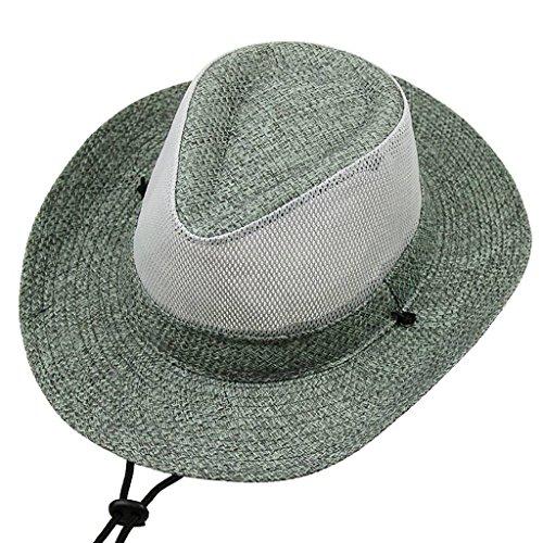 Zxwzzz Hüte Huts Herren Western Cowboy Hat Sommer Mesh Atmen Stroh Folding Big Klettern Angeln Strohhut mit Strandhut (Color : Gray)