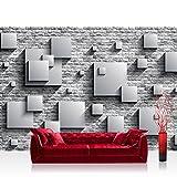 Vlies Fototapete 416x254cm PREMIUM PLUS Wand Foto Tapete Wand Bild Vliestapete - Steinwand Tapete Steinoptik 3D Vierecke Kunst grau - no. 2684