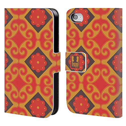 Head Case Designs Ciano Pattern Marocchini Cover a portafoglio in pelle per Apple iPhone 5 / 5s / SE Diamante Giallo