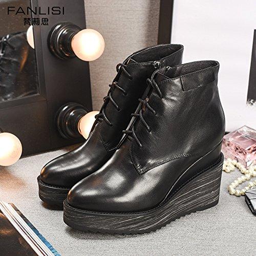Shoeshaoge inverno scarpe con tacco alto con cerniera singolo stivali di spessore inferiore Slope e cinturino stivaletti Martin stivali da donna scarpe Solid color