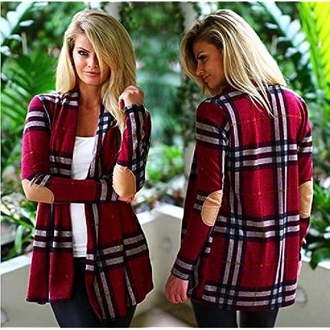 Mujeres XJoel mangas raglán básico de la tela escocesa de la rebeca hizo punto la capa del suéter rojo L