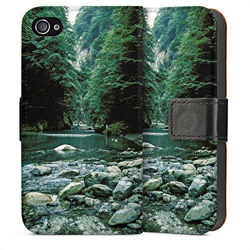 Apple iPhone 4 Housse Étui Silicone Coque Protection Fleuve Forêt Cours du fleuve Sideflip Sac