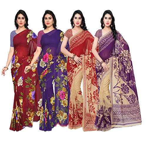 Anand Sarees Faux Georgette Combo Of 4 Saree (Pack_Of_4_1052_3_1052_4_1086_5_1086_6_Multicolor_Free Size)