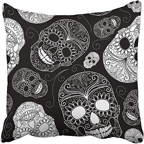 Cover Polyester 18X18 Inches Halloween Black and White with Skulls Floral Paisley Tattoo Rock Flower Graphic Dark Decorative Cushion Pillow Case Square Two Sides Print for Home ()