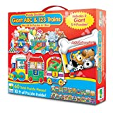 The Learning Journey Puzzle Doubles Giant ABC and 123 Train Floor Puzzle, Multi Color