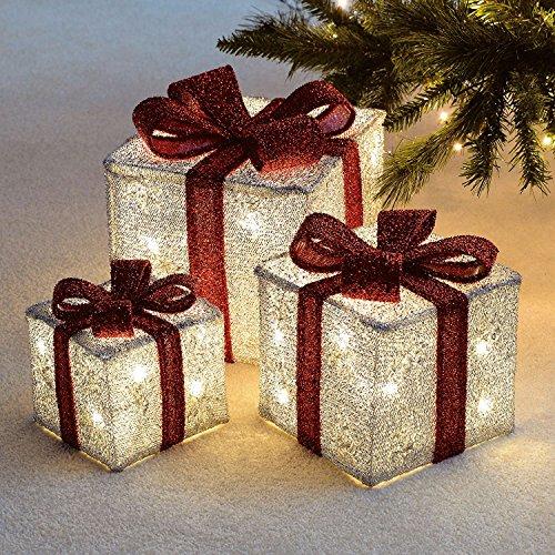 Decoraciones navideñas, de la marca Sentik, con forma de regalos y luces LED, 3 unidades