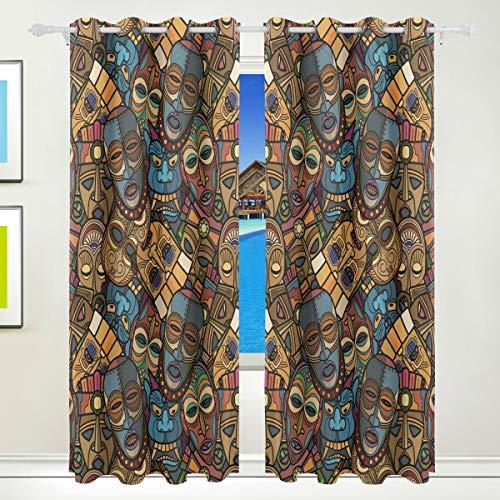 Ahomy Vorhänge für afrikanische Handwerke, Voodoo Tribal-Maske, Thermo-Isolierung, Ösenvorhang, Vorhänge für Wohnzimmer, Esszimmer, Schlafzimmer, 213,3 x 139,7 cm, 2 Stück