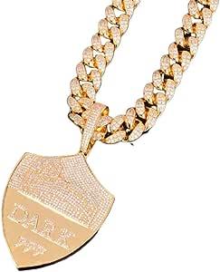 KMASAL Collana con Pendente a Forma di Scudo ghiacciato con Gioielli Moca Collana in Oro 18 carati con Diamanti Simulati con Diamanti CZ per Uomo e Donna