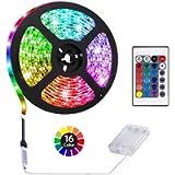 ACONDE 3.28 feet Battery Powered LED Strip Lights, DIY Indoor Decoration, 24 Keys Remote