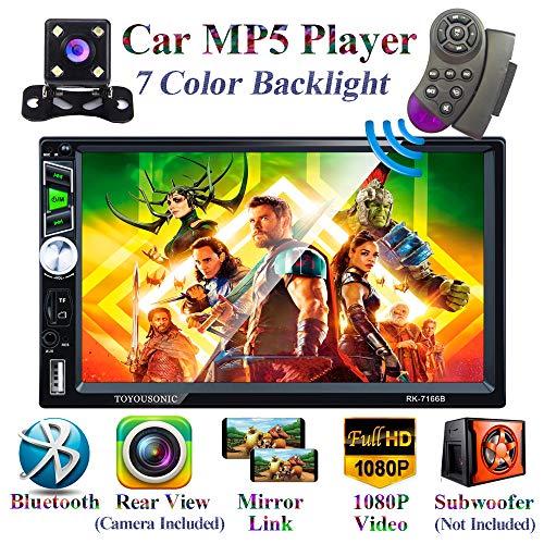 Honboom Autoradio Bluetooth 2 DIN Stéréo de Voiture écran Tactile HD de 7 Pouces avec Fonctions d'appel Mains Libres Bluetooth/Lien Miroir/FM/USB/Carte TF/entrée auxiliaire (caméra de recul...