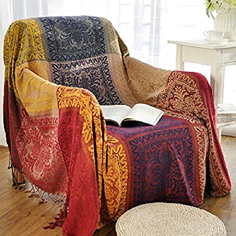 220cm x 260cm Chenille Jacquard Tassels Throw Blanket Sofa Chair Cover Tablecloth - Colorful Tribal Pattern (86 Inch x 102 Inch)