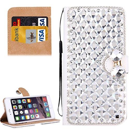 Für iPhone 6 & 6s Diamond verkrustete Bowknot Pattern Horizontale Flip PU Ledertasche Cover mit magnetischen Wölbung & Card Slots & Holder & Lanyard by diebelleu ( Color : Silver ) Silver