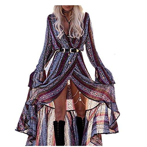 Sweetwill Boho Maxikleid Blumen Lange Sommerkleider Damen Maxi Strandkleid Casual Langarm V-ausschnitt Kleid für Frauen (Einheitsgröße, Farbe 1)