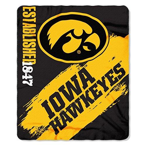 NCAA Iowa Hawkeyes Painted Printed Fleece Throw Blanket, 50 x 60, Black by Northwest -