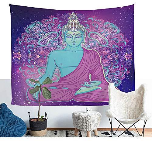 Buddha Meditation Wandteppich Indische Mandala Buddhismus Wandkunst Tapisserie Böhmische Yoga Wandbehang Spirituelle Kunstwerk Wand Decke Wand Dekor Tischdecke Tagesdecke Vorhang 60 * 51in