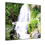 Kunstdruck - Kleiner Wasserfall - Bild auf Leinwand - 40 x 40 cm - Leinwandbilder - Bilder als Leinwanddruck - Landschaften - Natur - Bachlauf