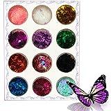 Kalolary 12 Kleuren 3D Vlinder Holografische Nagel Glitter Pailletten voor Nagels Glanzend Laser Nagelkunst Glittertips Acryl