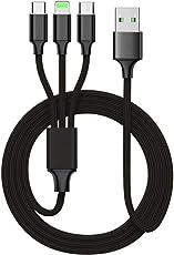 Multi USB Kabel, 3 in 1 Mehrfach Ladekabel Type C Kabel + Lightning Kabel + Micro USB Kabel Adapter für iPhone 8/8plus/7/6/6s/iPad/Macbook/ Samsung Galaxy S8/Lumia 950/950XL, Lumia, Huawei P10, Nexus 6P, 5X usw(Schwarz)