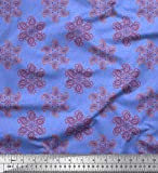 Soimoi Blau Baumwolle Ente Stoff Blätter & Blumen Paisley