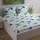 Divine Casa Magic 104 TC Cotton Double Bedsheet with 2 Pillow Covers - Modern, Blue/Floral
