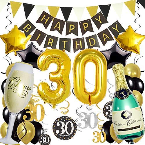 ZERODECO 30. Geburtstag Dekoration, Schwarz Gold Happy Birthday Banner 30. Nummer Goldfolien-Ballone Champagnerflaschen sternförmige Folienballon Hängende Strudel Dreieckige Wimpel Party Zubehör Set