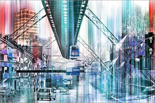 Leinwandbild 90 x 60 cm: Wuppertal Collage von Städtecollagen - fertiges Wandbild, Bild auf...