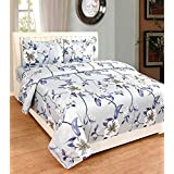 FreshFabrics Cotton Double Bed Bedsheet With Pillow Covers, 88x96-inch, Blue