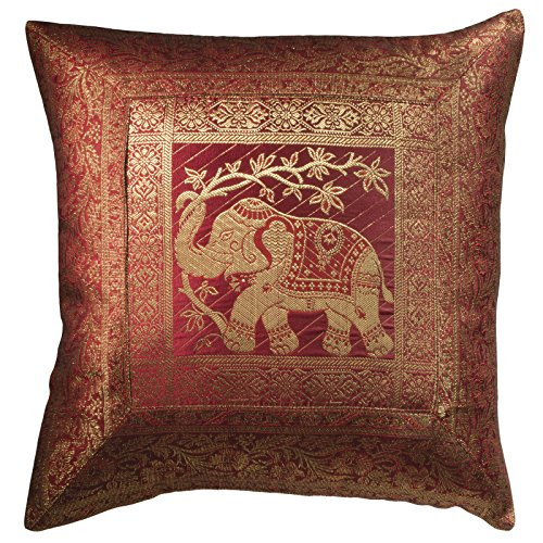 Indian Arts Fair Trade indischen Brokat Arbeit Elefant Kissen cover 45 x 45 cm -