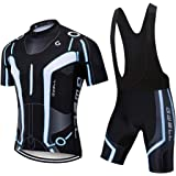 GWELL Men's Cycling Jersey Breathable Cycling Clothing Set Short Sleeve + Cycling Shorts with Seat Padding for Cycling
