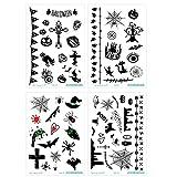SpringPear 4X Etiqueta Engomada Temporal del Tatuaje del Horror con Esqueleto de Fantasma de Calabaza para la Fiesta de Halloween (4 Piezas SC-804 SC-806 SC-807 SC-808)