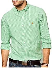 b9b0b2b84ad5 Ralph Lauren Polo by chemis à Carreaux Vert Chemise pour Homme Coupe  ajustée Blanc