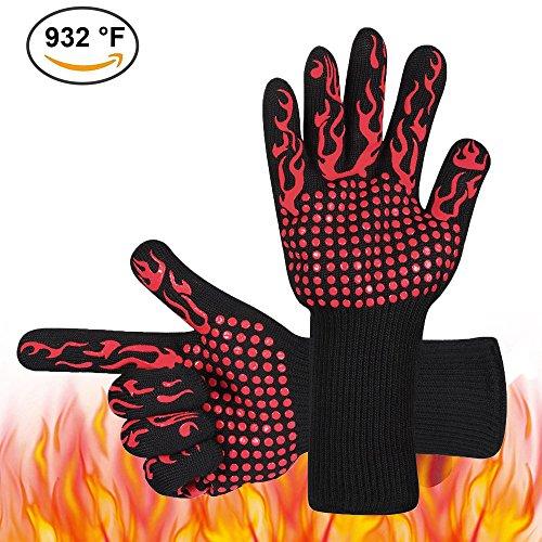 Den Heißen Herd (Hitzebeständige Grill Handschuhe -932 ° F (500 ℃) BBQ Kochen Handschuhe Ofen Handschuhe für Grillen, Braten & Backen Küche Safe Handling von Töpfen und Pfannen-Kamin / Herd / Potholder (Rot))