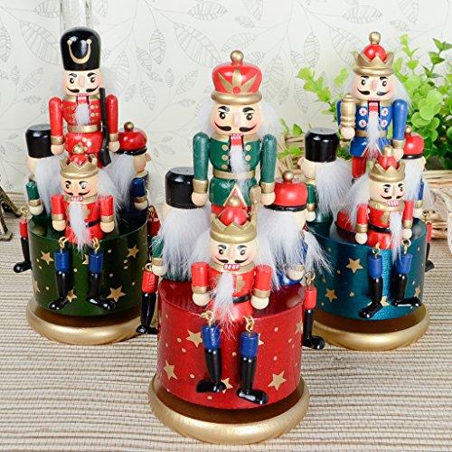CUTICATE Exquisite Bemalte Hölzerne Nussknacker Soldat Spieluhr Wickeln Spielzeug Wohnkultur Kind - Blaue Basis