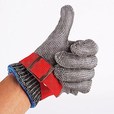 Cleanpower - Guante de acero inoxidable, resistente a cortes para carnicero, talla M, alto rendimiento, nivel 5 de protección, color rojo