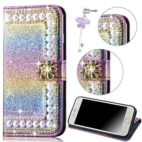 Strass Case pour iPhone 6 6S Coque, Sunroyal Bling Bling Diamant Shell en PU cuir Portefeuille Universelle Flip Bookstyle Back Cover de Protection Pare-Chocs Téléphone Wallet Case Design 3D Cristal Sp Rainbow 02
