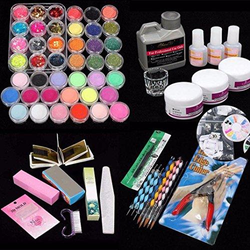 Moonuy DIY 42 Pièces Acrylique Nail Art Conseils poudre Pinceau Liquide Glitter Clipper Ensemble de Fichiers Kit Set Bricolage de ongles Nail Powder ongles poudre outil de soin (Multicolore)