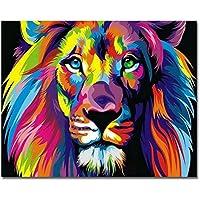 Cadre en bois, Peinture par numéros Peinture à l'huile de bricolage Peinture à l'huile de lion