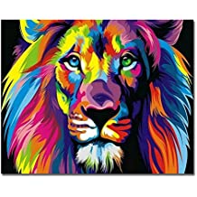 Rihe Wood Frame, Paint Numbers DIY Oil Painting Colourful Lion Canvas Print Wall Art Home Decoration by